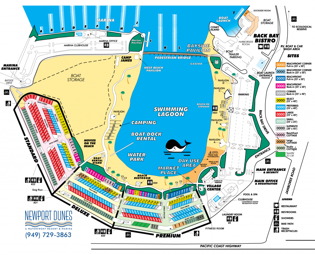 Newport Dunes Map   Places To Visit   Newport Dunes, Rv Parks, Beach - Rv Dealers In Florida Map