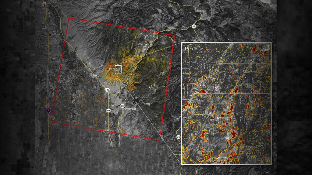 News | Updated Nasa Damage Map Of Camp Fire From Space - California Fire Damage Map