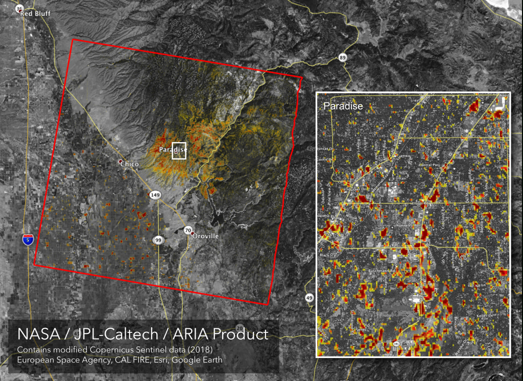News | Updated Nasa Damage Map Of Camp Fire From Space - Live Fire Map California