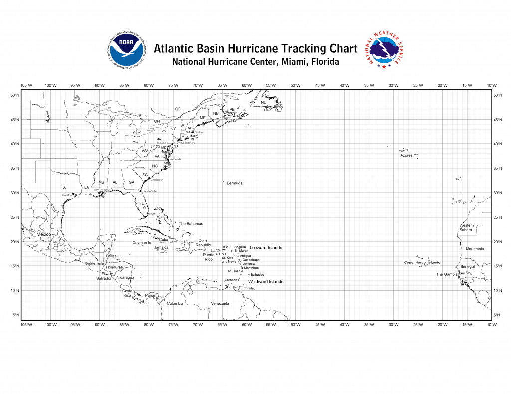 Nhc Blank Tracking Charts - Printable Hurricane Tracking Map