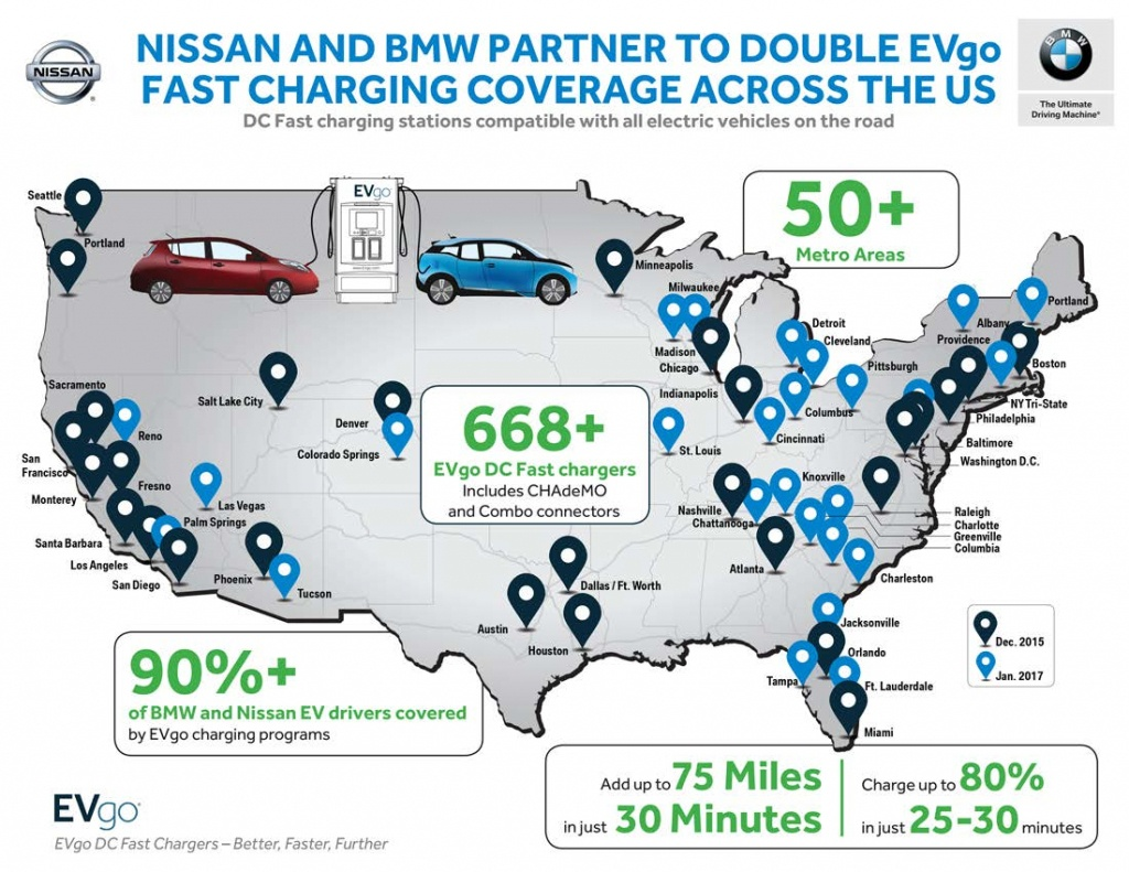Nissan And Bmw Partner Once Again To Expand Dc Fast Charger Access - Dc Fast Charging Stations California Map