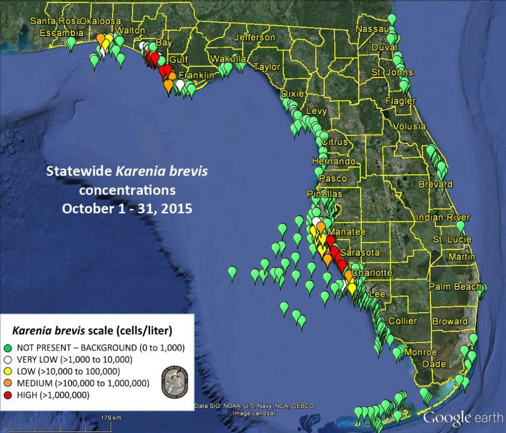 No Red Tide Bloom Offshore From Sarasota-Manatee, Fwc Says - News - Toxic Algae In Florida Map