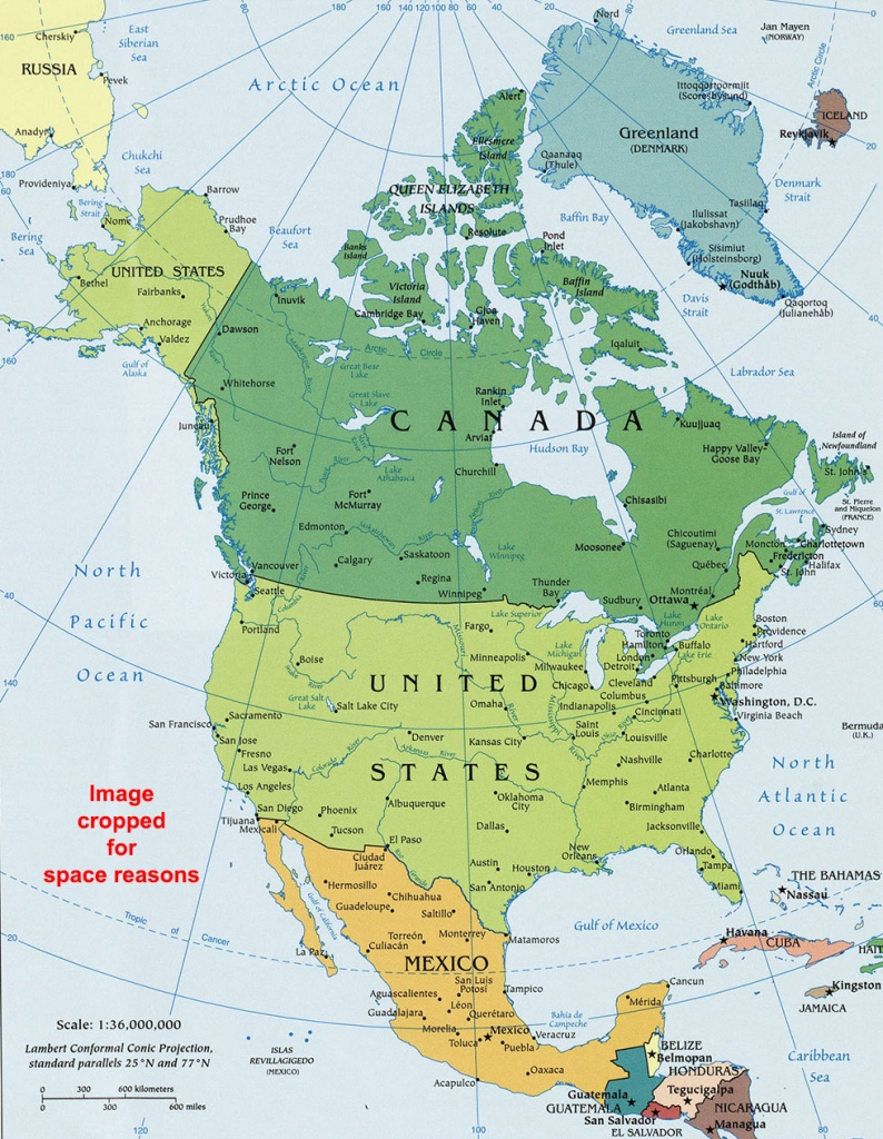 North America Political Map, Political Map Of North America - North America Political Map Printable