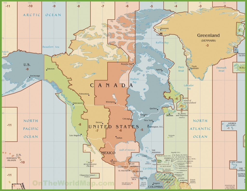 North America Time Zone Map - Printable North America Time Zone Map