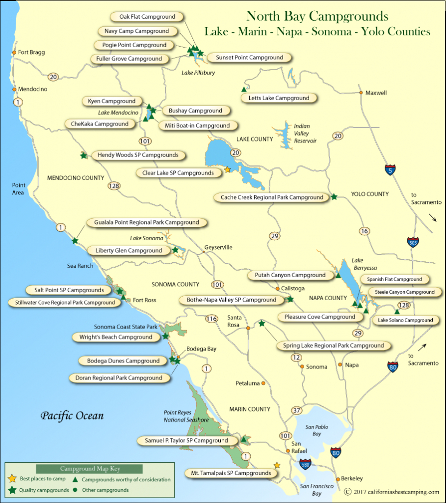 North Bay Counties Campground Map - Camping Central California Coast Map