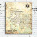 North Port Fl Canvas Print Florida Fl Vintage Map North Port Fl City   North Port Florida Map