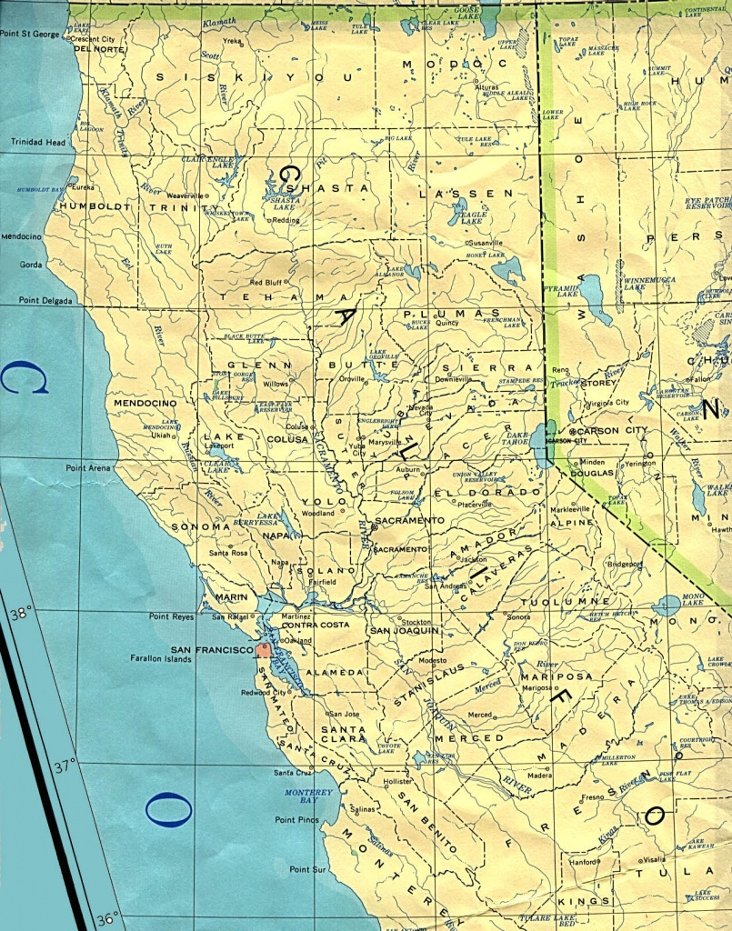 Northern California Road Map And Travel Information | Download Free - Road Map Of Northern California Coast
