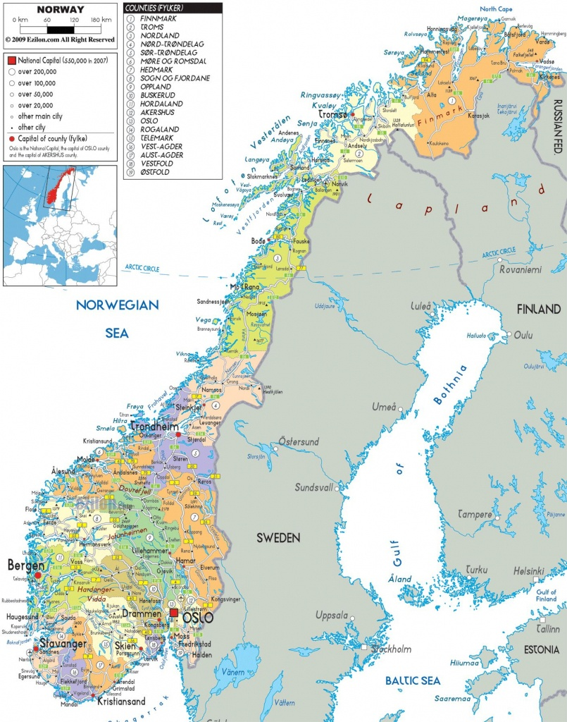 Norway |  And Administrative Map Of Norway With All Roads, Cities - Printable Map Of Norway With Cities