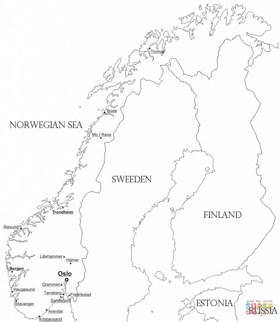 Norway Map With Cities Coloring Page | Free Printable Coloring Pages - Printable Map Of Norway With Cities