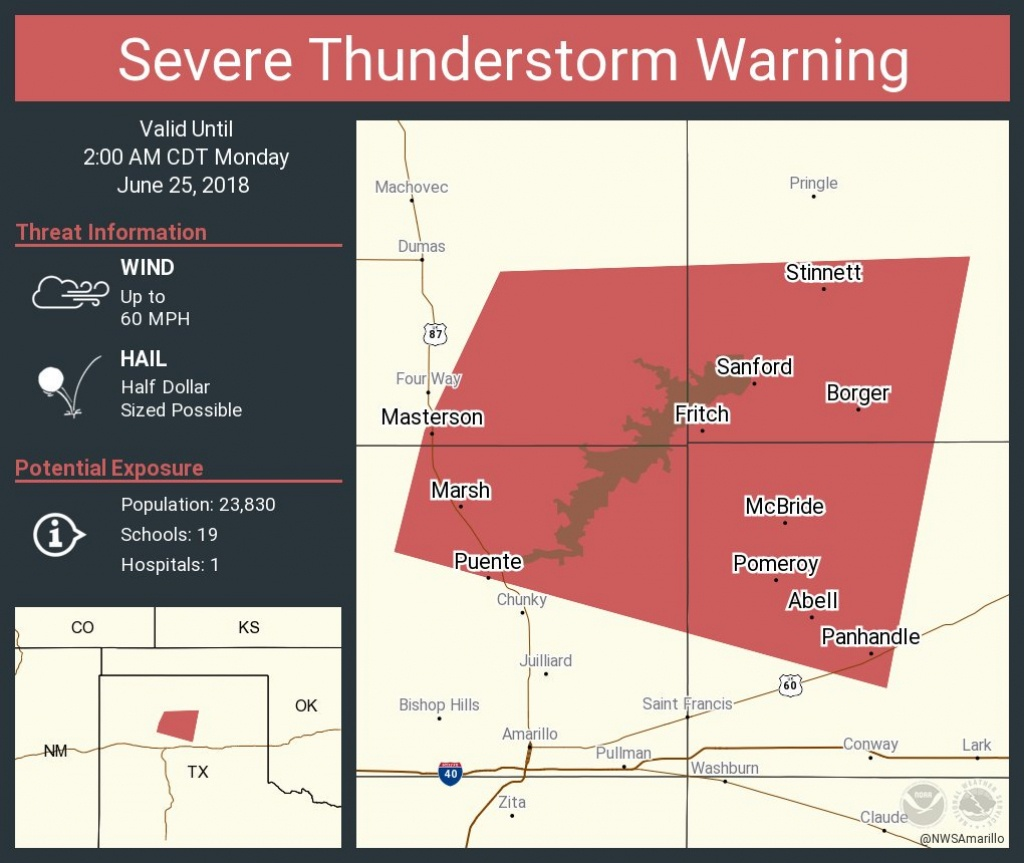 """Nws Amarillo On Twitter: """"severe Thunderstorm Warning Including - Fritch Texas Map"""