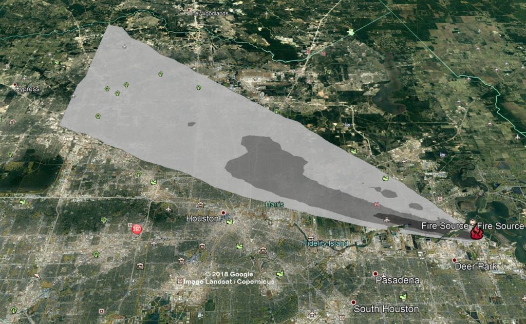 Nws Maps Show Deer Park Fire Smoke Forecast - Houstonchronicle - Texas Fire Map