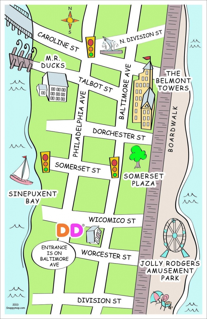 Ocean City, Md Discovery Map Style | Fun Business Map | How To Draw - Printable Street Map Ocean City Nj