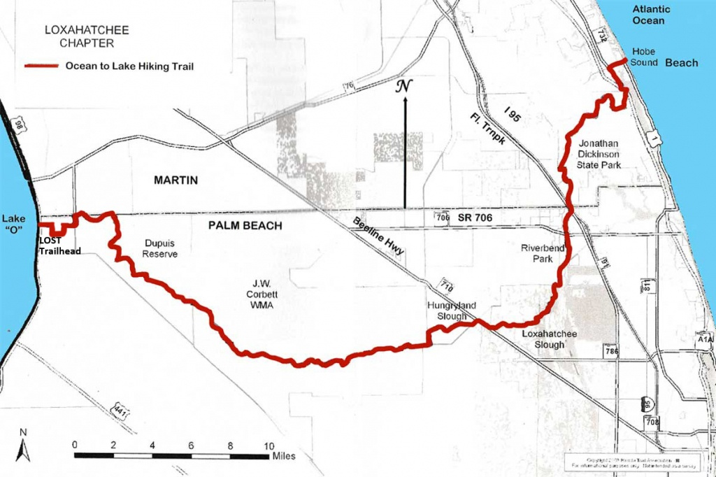 Ocean To Lake Hiking Trail - Hobe Sound Florida Map