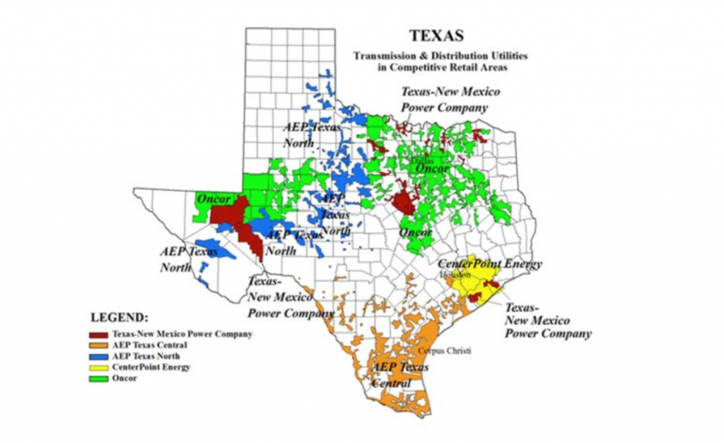 Of The Texas Utilities, Take Centerpoint - American Electric Power - Texas Utility Map