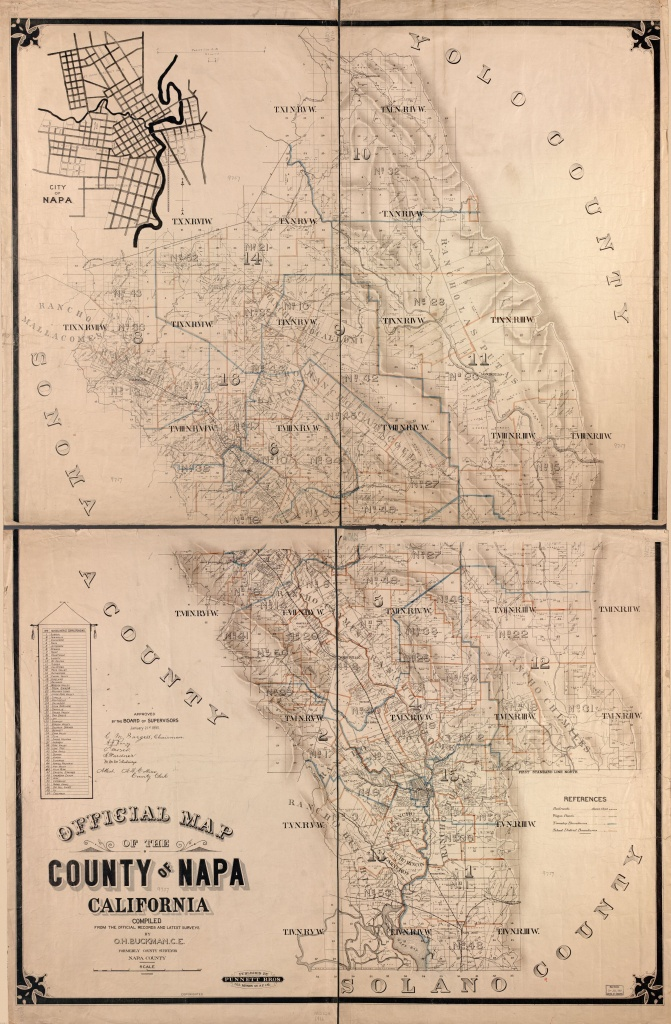 Official Map Of The County Of Napa, California : Compiled From The - California Township And Range Map