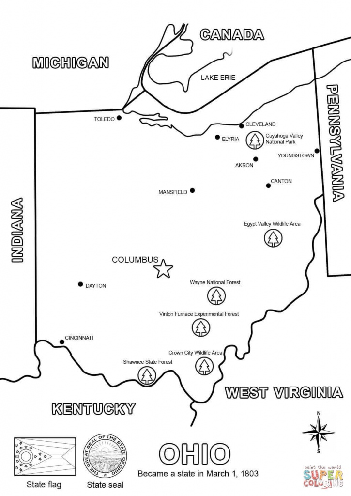 Ohio Map Coloring Page | Free Printable Coloring Pages - Ohio State Map Printable