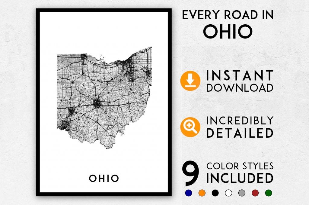 Ohio Map Print Ohio Print Ohio State Map Ohio Poster Ohio | Etsy - Ohio State Map Printable