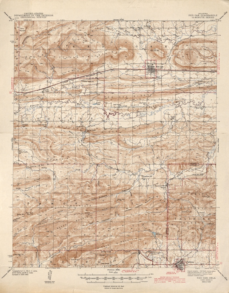 Oklahoma Historical Topographic Maps - Perry-Castañeda Map - Red Oak Texas Map