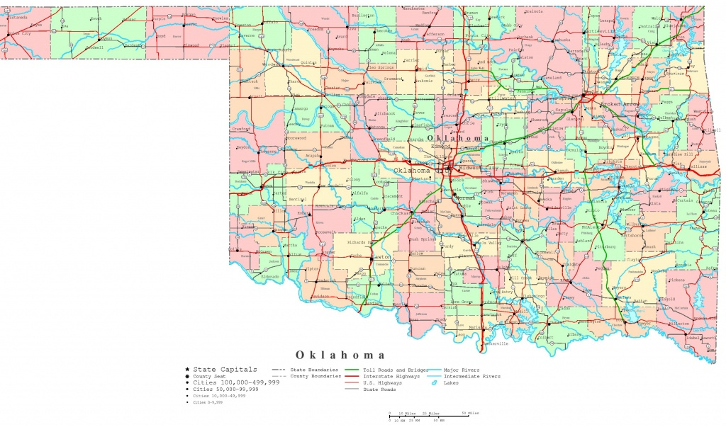 Oklahoma Printable Map - Oklahoma State Map Printable
