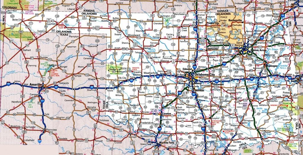 Oklahoma Road Map - Printable Map Of Oklahoma