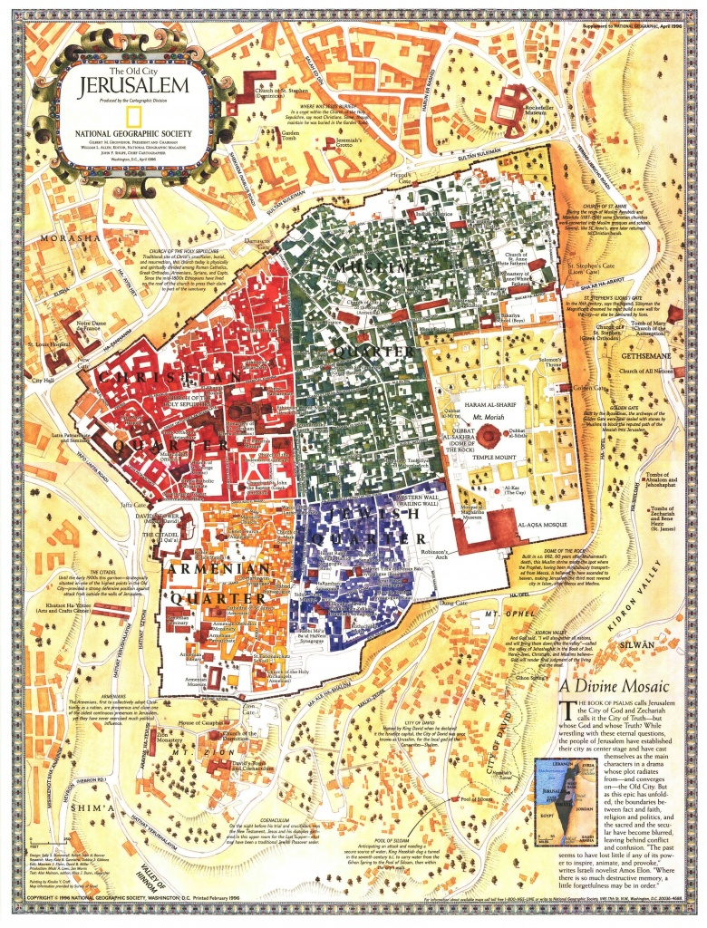 Old City Jerusalem, Israel Mapnational Geographic | Homeschool - National Geographic Topo Maps California