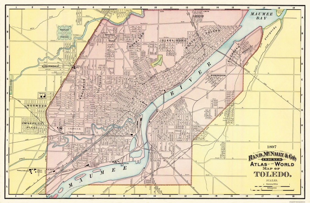 Old City Map - Toledo Ohio - Rand Mcnally 1897 - Printable Map Of Toledo Ohio
