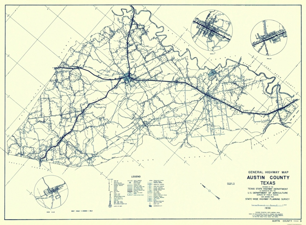 Old County Map - Austin Texas Highway - Highway Dept 1936 - 23 X 31.25 - Austin County Texas Map