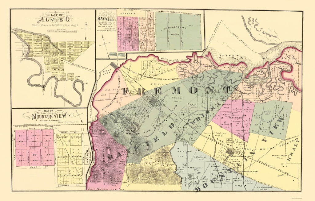 Old County Map - Fremont California Landowner 1876 - Fremont California Map
