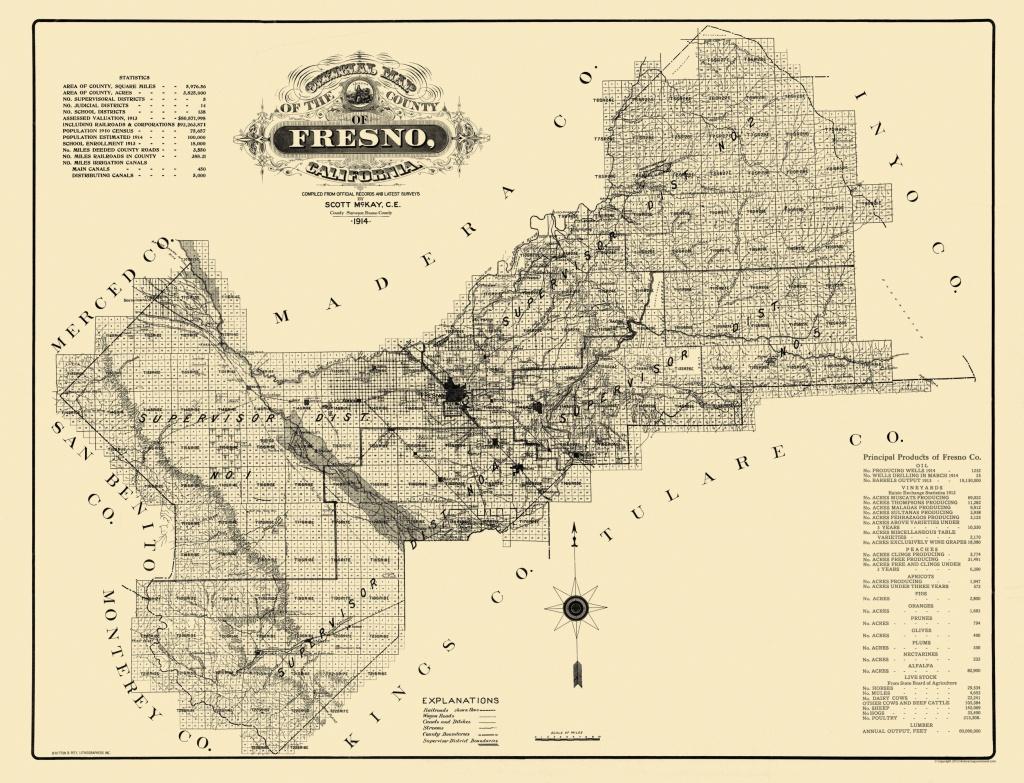 Old County Map - Fresno California - 1914 - Fresno California Map