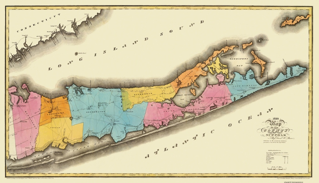 Old County Map - Suffolk New York - Burr 1829 - Printable Map Of Suffolk County Ny