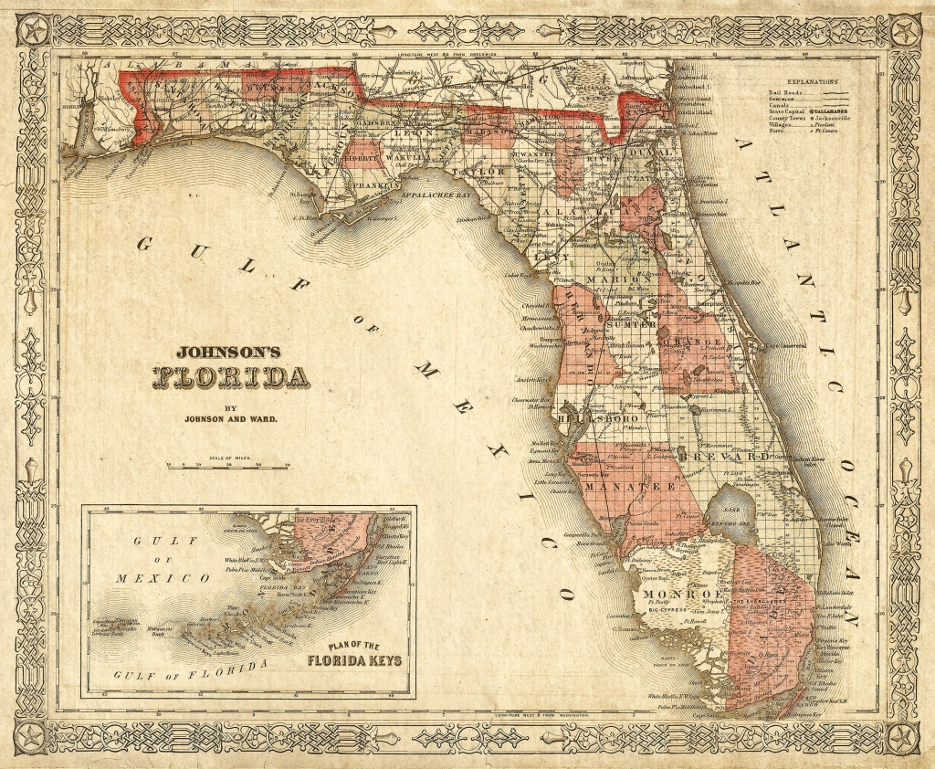 Old Florida Map 1863 Johnson's Map Of Florida Restoration Style - Vintage Florida Maps For Sale