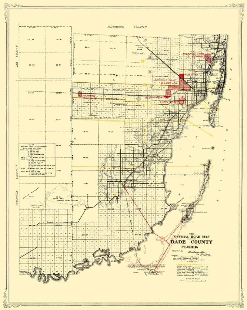 Old Map - Dade Florida Road - Miami Motor Club 1921 - Map Of Dade County Florida