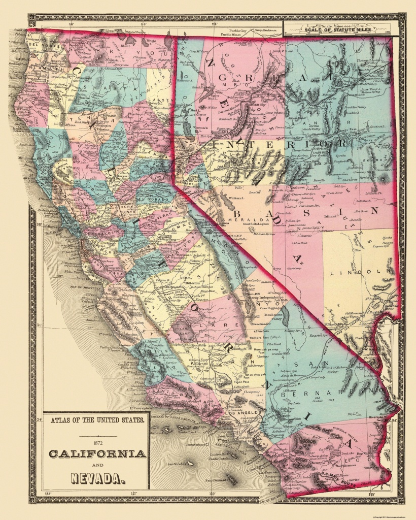 Old State Map - California, Nevada - 1872 - California Nevada Map