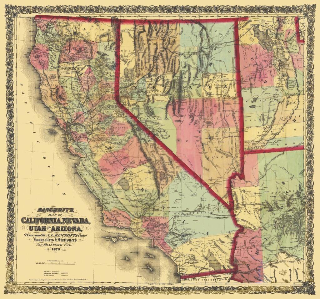 Old State Map - California, Nevada, Utah, Arizona 1873 - California Nevada Map