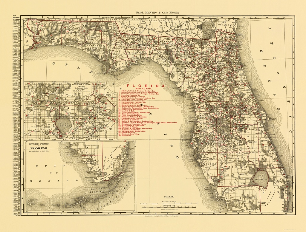 Old State Map - Florida - Rand Mcnally 1900 - 23 X 30.30 - Florida Old Map