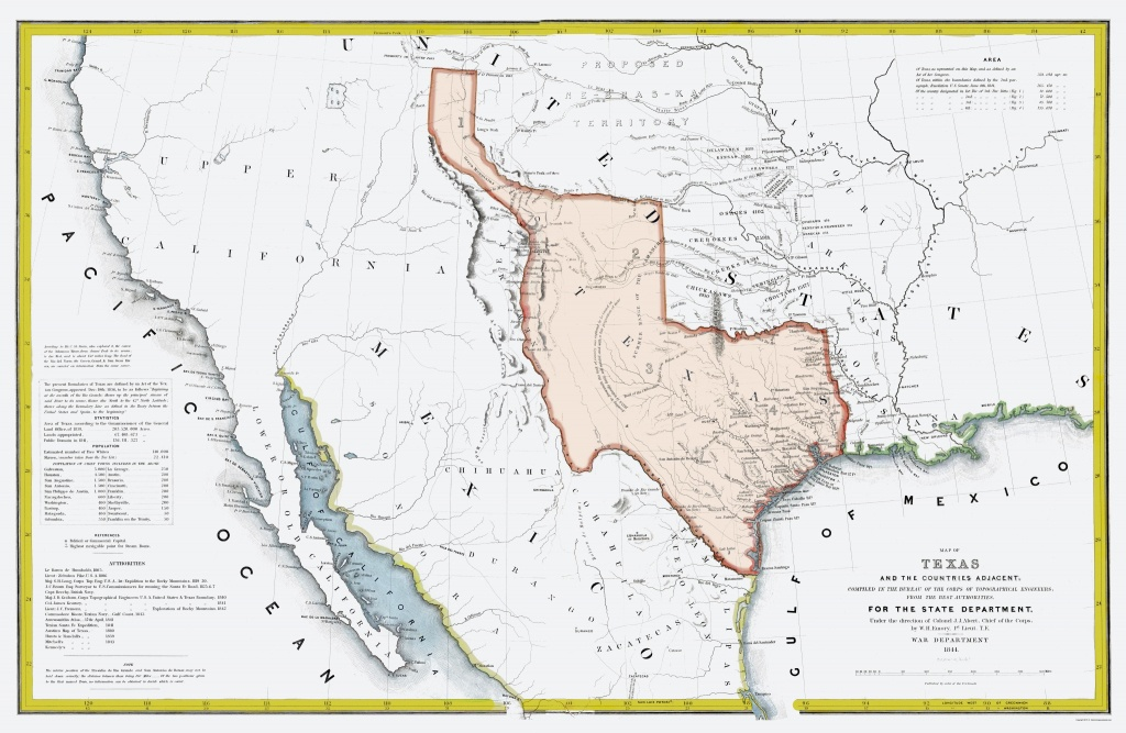 Old State Map - Texas Republic And Adjacent Countries 1844 - 23 X 35 - Republic Of Texas Map