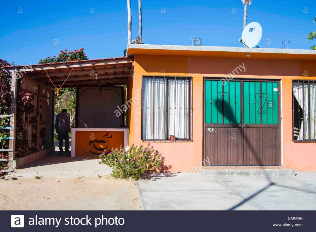 Old Typical Mexican Orange House With Iron Gates. Blue Sky, Sunny - Baja California Real Estate Map