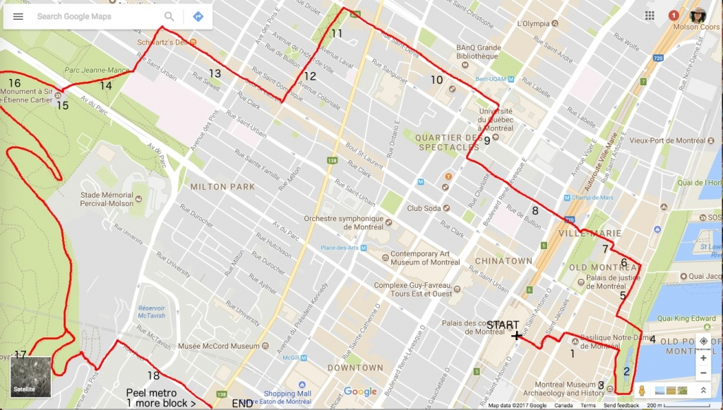 One Day In Montreal, A Self-Guided Walking Tour – Big Travel Nut - Printable Street Map Of Montreal