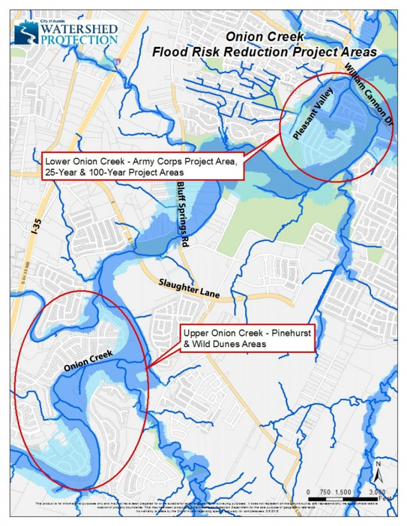 Onion Creek Flood Risk Reduction | Watershed Protection - 100 Year Floodplain Map Texas