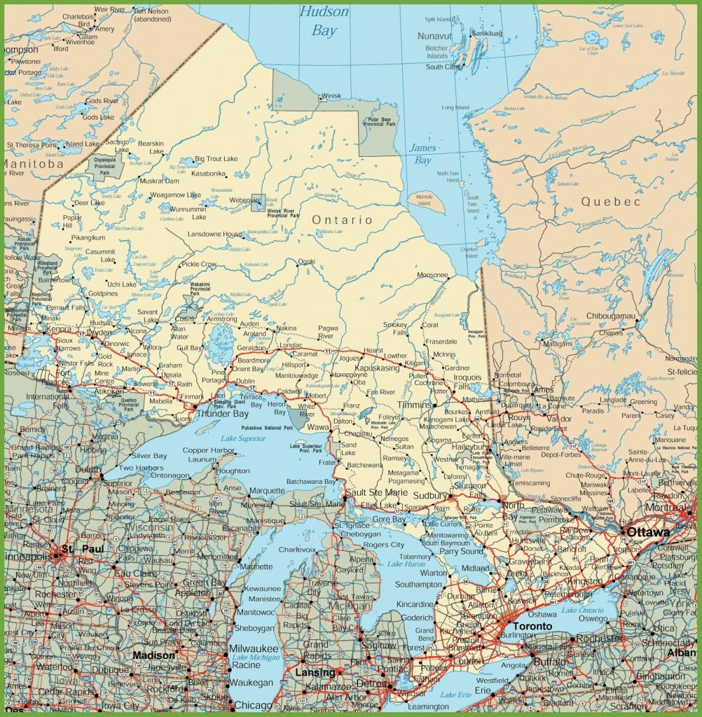 Ontario Road Map - Printable Road Map Of Canada