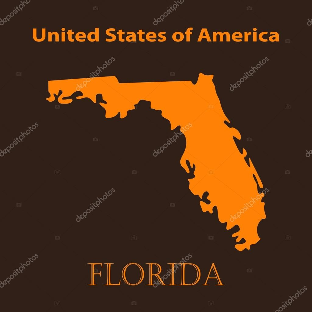 Orange Florida Map - Vector Illustration. — Stock Vector © Chekman1 - Orange Florida Map