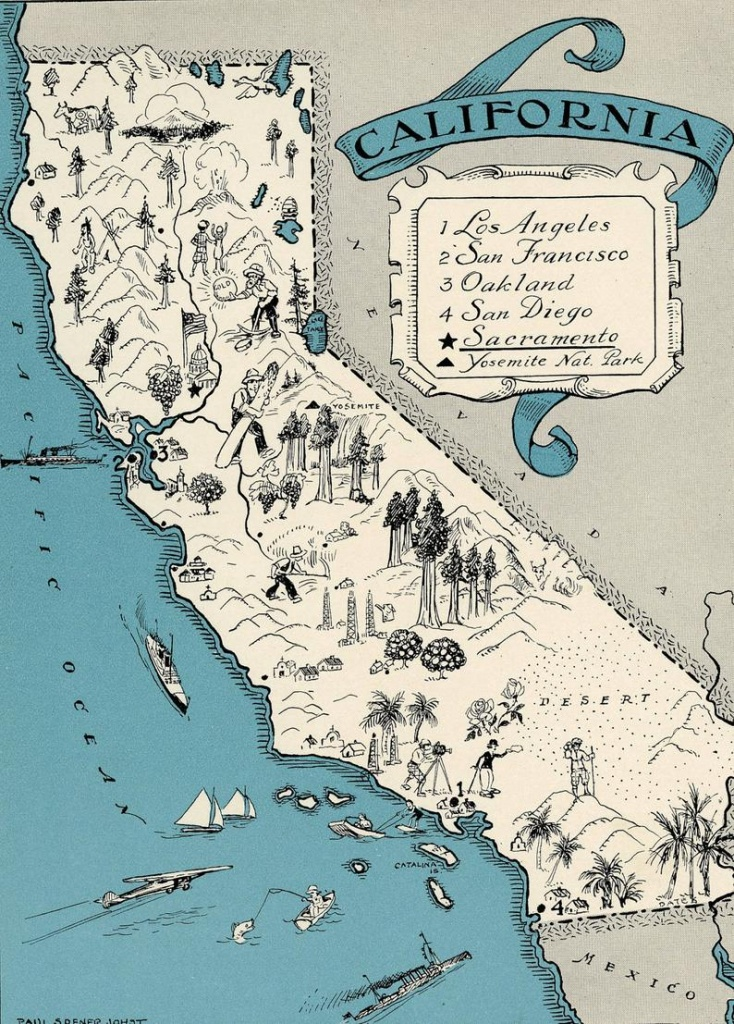 Original 1931 California Map Vintage Picture Map Antique Map | Etsy - Antique Map Of California