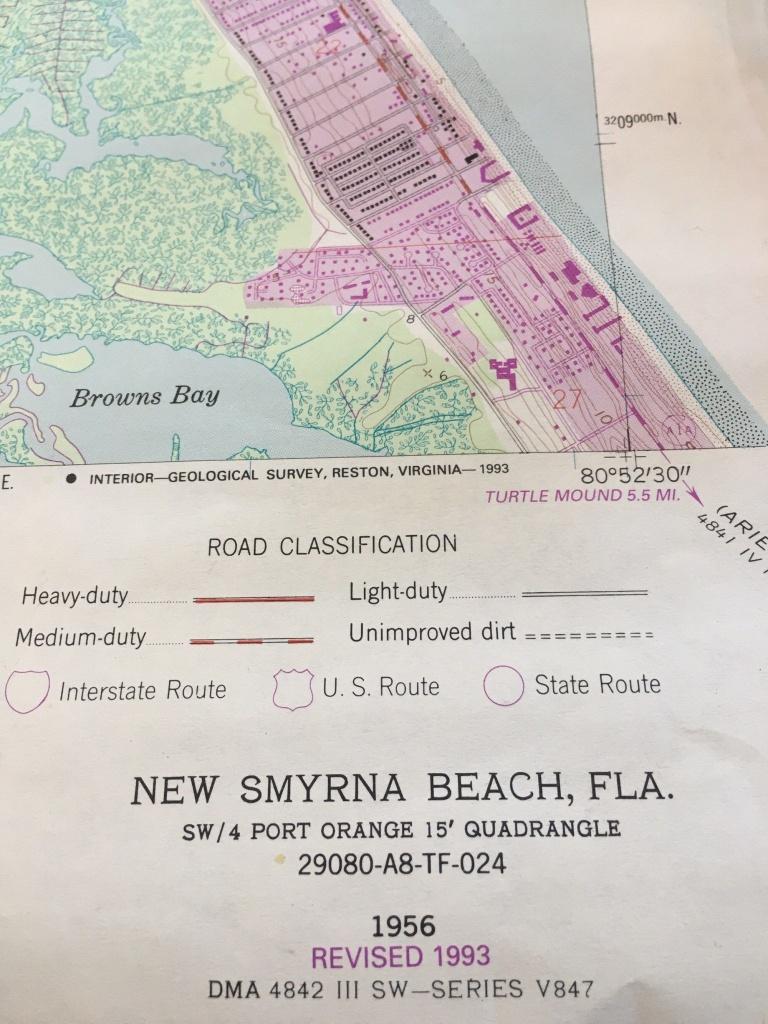 Original Florida Map Of New Smyrna Beach Ponce Inlet Us Dept - Smyrna Beach Florida Map