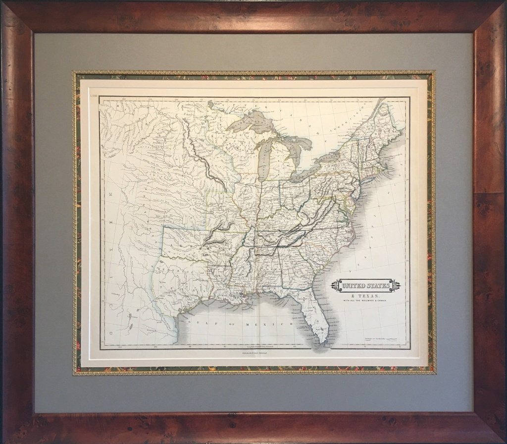 Original Map Of The Republic Of Texas And The United States - Texas Map Framed Art