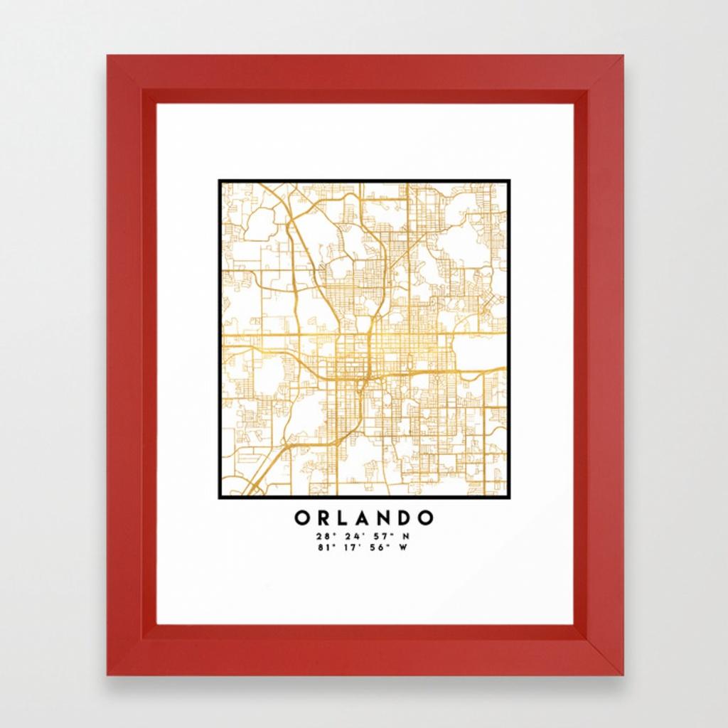 Orlando Florida City Street Map Art Framed Art Print - Street Map Of Orlando Florida