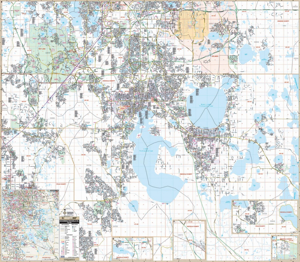Osceola Co & Kissimmee, Fl Wall Map – Kappa Map Group - Map Of Osceola County Florida