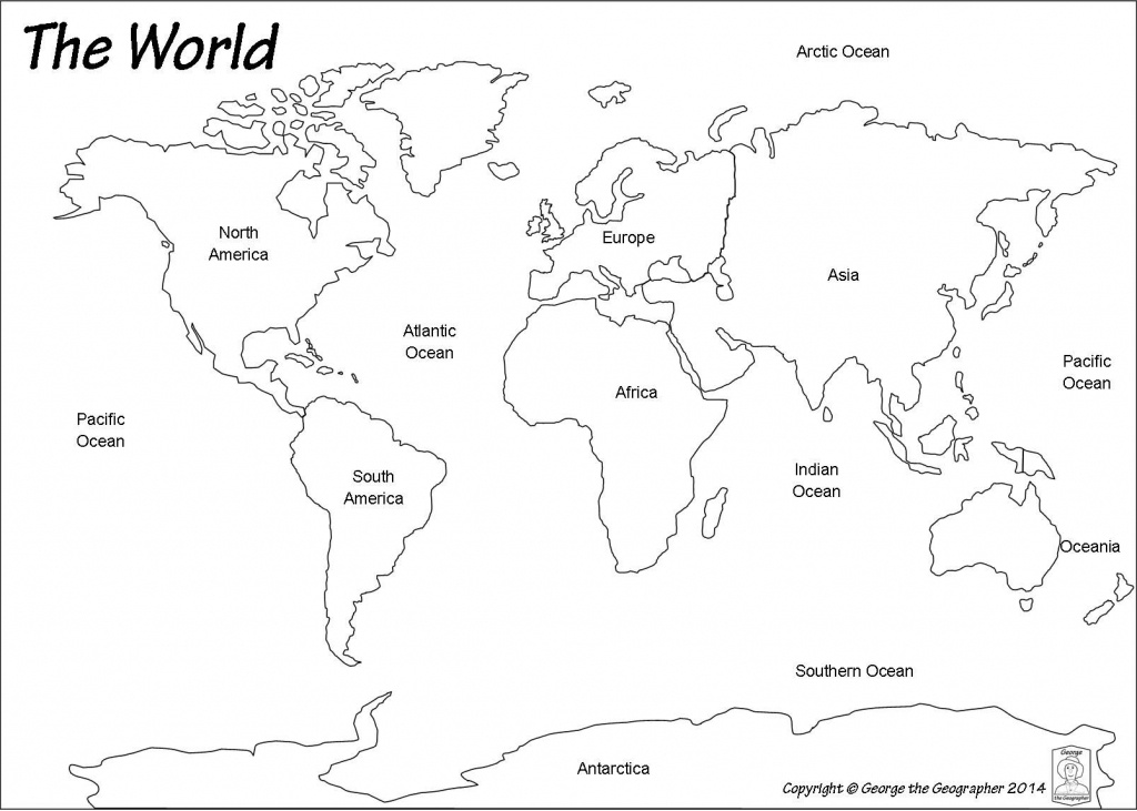 Outline World Map | Map | World Map Template, World Map Printable - World Map Oceans And Continents Printable