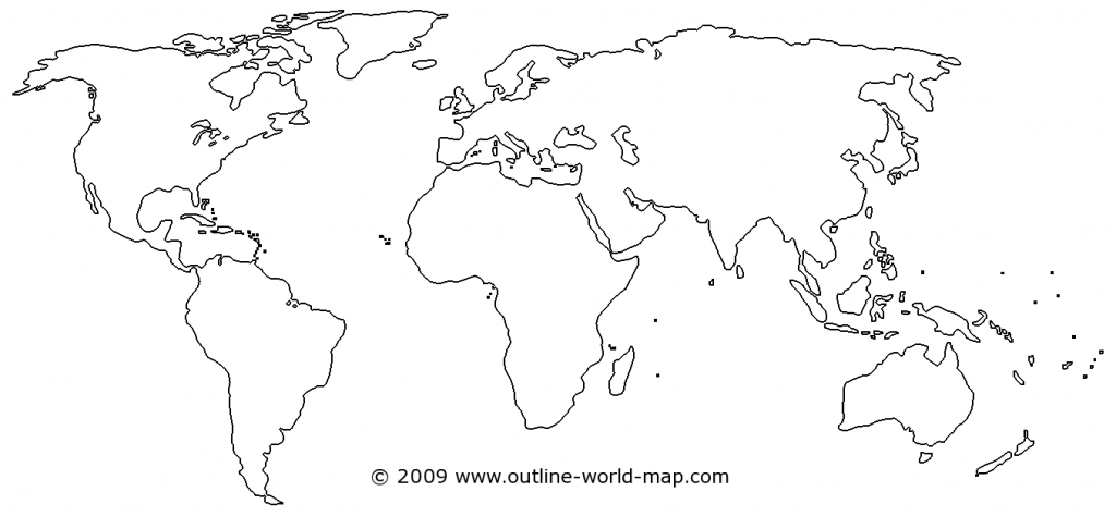 Outline World Map With Medium Borders White Continents And Oceans - World Map Oceans And Continents Printable