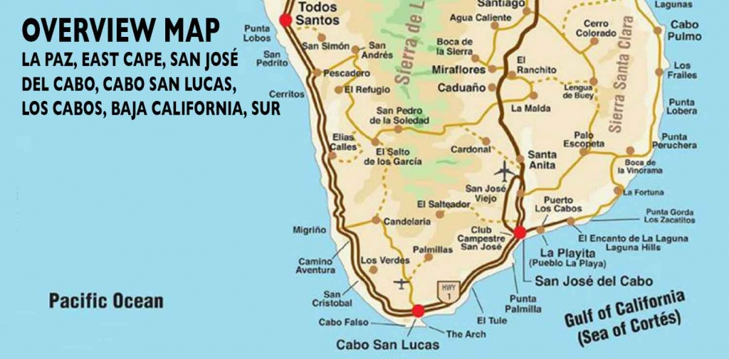 Overview Map Of Southern Baja - Los Cabos Guide - Baja California Real Estate Map
