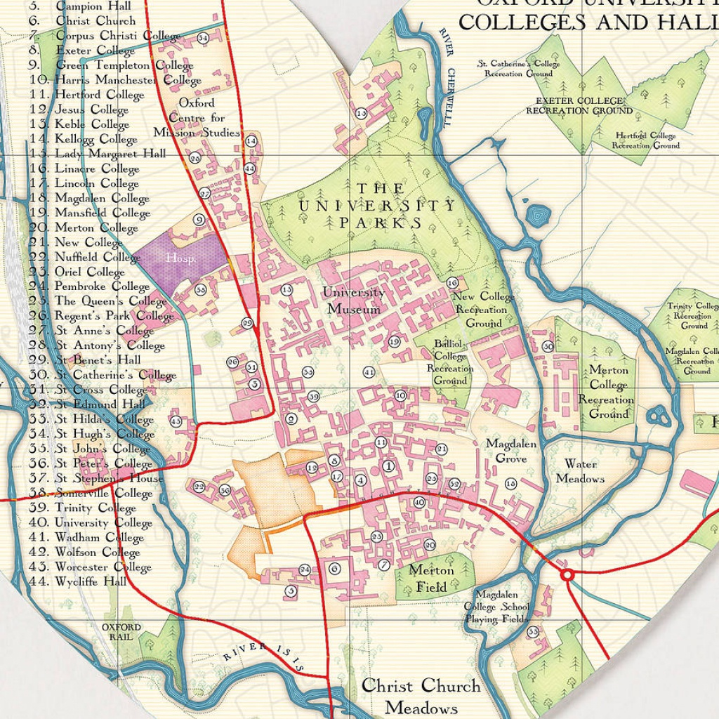 Oxford Map Heart Printbombus Off The Peg   Notonthehighstreet - Printable Map Of Oxford